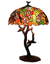 tiffany style grapes birds mosaic table lamp traditional