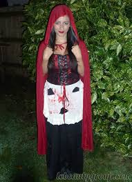 halloween costume little red riding hood makeup nails and