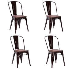 Copper Bistro Chair Costway Set Of 4 Dining Side Chair Stackable Bistro Metal Wood