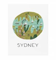 Map Paper Sydney Art Print By Rifle Paper Co Made In Usa