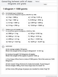 converting between units of mass grams and kilograms answers