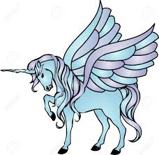 illustration of a blue unicorn with wings stock photo picture and