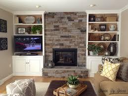 terrific built ins around stone fireplace photo decoration