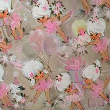 little ballerina u0027s in pink vintage birthday wrapping paper