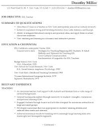 Resume Templates For Teachers Free Resume For An Esl Teacher Susan Ireland Resumes