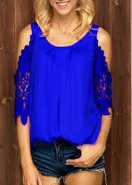 royal blue blouse top lace panel cold shoulder royal blue blouse rotita com usd 26 71