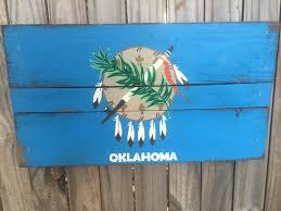 hand painted oklahoma state flag recycled pallet sign gift