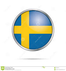 vector swedish flag button sweden flag in glass button style