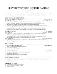 food service resume examples samples server waitress cover letter