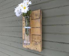 Yellow Wall Sconce Rustic Wall Sconce Wood Wall Sconce Vase By Ourwoodscreations