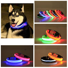 dog collar lights waterproof nylon led pet dog collar luminous fluorescent collars mjavision com