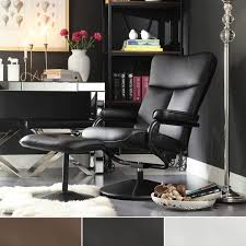 contemporary leather recliner and ottoman with leather wrapped