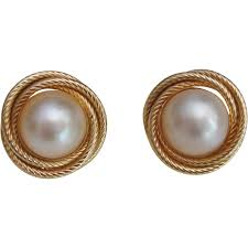 pearl clip on earrings 14k solid gold large mabe pearl clip earrings twisted rope