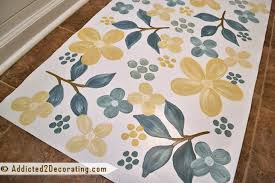 bathroom makeover day 17 floral painted floor cloth
