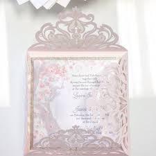cherry blossom wedding invitations blush pink laser cut wedding invitation with glittery manzanita