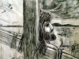 jesus on the cross study for painting sketch by christophermbove