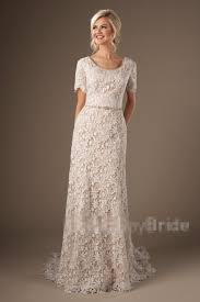 vintage lace modest lace wedding dresses with short sleeves sheath