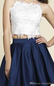 piece prom dresses white above with appliqeus navy blue skirt