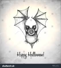 scary bat sketch style handdrawn card stock vector 150489932