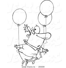 vector of a cartoon businessman floating away with balloons