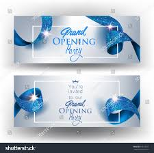 Invitation Cards Design With Ribbons Elegant Grand Opening Invitation Cards Blue Stock Vector 536128837