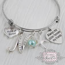 of honor gift initial bracelet wedding bridesmaid