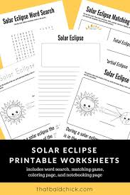 use these solar eclipse printable worksheets to make the most of