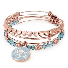 gold love you bracelet images Alex and ani i love you set of 3 shiny rose gold finish item jpg