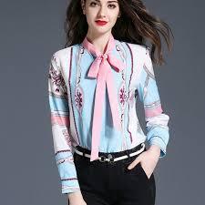 in satin blouses 2017 autumn sleeve vintage print satin shirts
