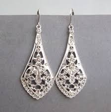 vintage wedding earrings chandeliers deco style silver filigree bridal earrings bridal chandelier