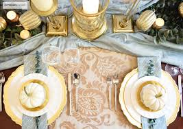 Gold Table Setting by Citrineliving Gold And Aqua Thanksgiving Table