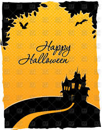 happy halloween clipart happy halloween card with silhouette of castle vector image 59683