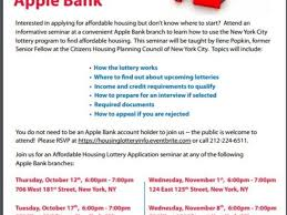 oct 12 affordable housing seminars sponsored by apple bank