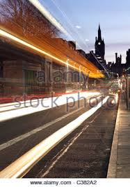 union street in aberdeen scotland uk busy with traffic