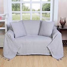 jeté de canapé en homescapes plaid ou jeté de canapé halden uni gris à motif