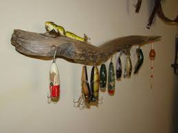 hanging picture find driftwood to hang old fishing tackle fishing lures