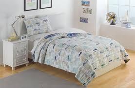 plaid nautical sail away toddler bedding 3pc quilt set