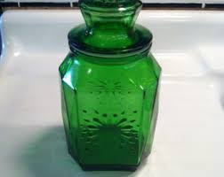 green glass canister etsy