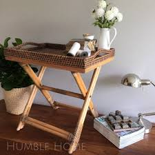 serving tray side table brown rattan side table butlers tray table bedside htons french