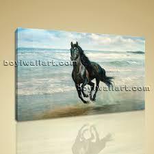 contemporary wall art canvas hd print black horse on beach home decor