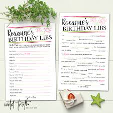 personalized birthday game for adults mad lib printable or this custom mad lib is a hilariously fun birthday party game for adults to play at a restaurant or at home order your custom colored personalized game