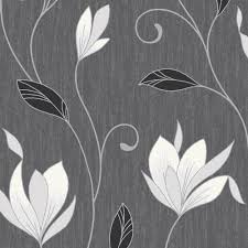 vymura synergy glitter floral wallpaper ebony black white silver