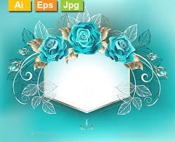 turquoise roses white banner with turquoise roses by blackmoon9 graphicriver