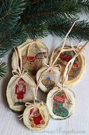 craft vintage style wood slice tree ornaments