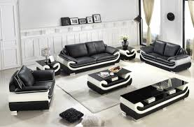 Sofa Casa Leather Casa T777 Modern Black White Bonded Leather Sofa Set
