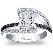 black princess cut engagement rings barkev s bypass black white engagement ring