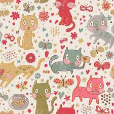 funny cartoon seamless pattern cute cats and butterflies in