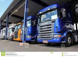 scania trucks row of scania trucks in vehicle storage editorial stock photo