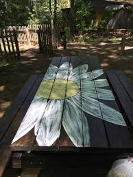 Designs For Wooden Picnic Tables by Best 25 Painted Benches Ideas On Pinterest Picnic Table Paint