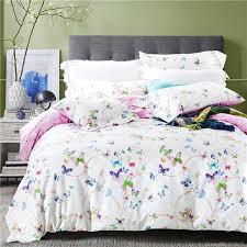 Cotton Bedding Sets 2017 Purple Floral Butterfly Bedding Sets Cotton Bed Sheets Bed